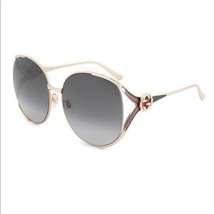 Gucci green and gold oversized sunglasses